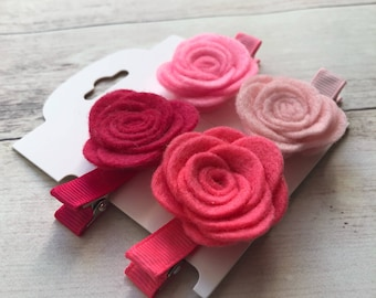 Felt hair clips, Felt flower clips, Toddler hair clips, No slip hair clips, Baby hair clips, Baby bow, Toddler bow, Felt rose