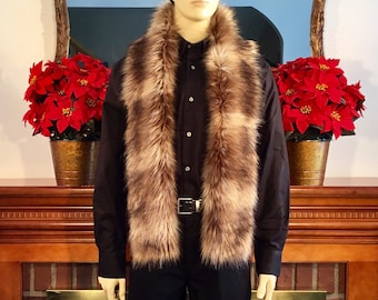 """Fancy Mountain Coyote Faux Fur 67"""" Straight Scarf & Muffler/Versatile/Machine WashDry/Perfect Gift for Him-Her/Gift Ready Box/Ready to Ship!"""