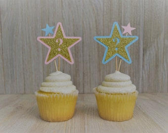 Gender Reveal|Gender Reveal Ideas|Twinkle Twinkle Little Star How We Wonder What You Are|Star Cupcake Toppers| Gender Reveal Cupcake Toppers