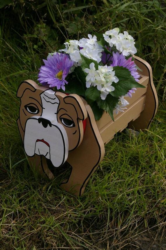 Wooden Dog Planter