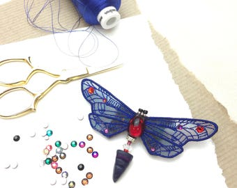 Insect brooch,  embroidered wasp, insect pin, blue and red insect brooch