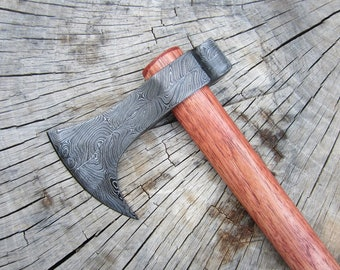 Damascus Steel Hand Forged Bearded Tomahawk Axe with Red Hickory Handle
