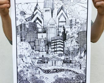 FREE SHIPPING - Philadelphia Skyline Illustration - Paul Carpenter Art - 16 x 20 Open Edition Screen Print