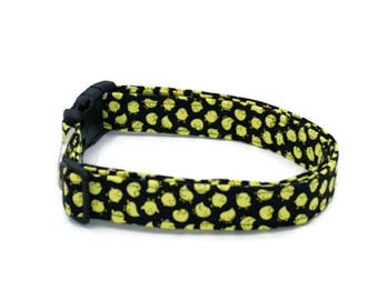 Little Baby Yellow Chicks on Black Dog Collar