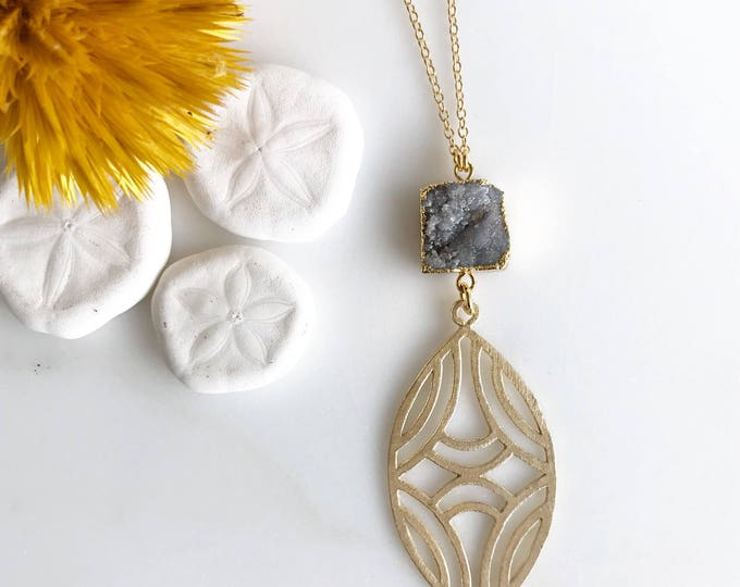 Long Druzy Necklace. Grey Druzy Geode Necklace with Beaded Chain. Unique Jewelry Gift for Her. Gift. Druzy Quartz. Boho Necklace.