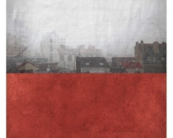Pole Bordeaux (Landscape Photography - Fine Art Print - Rooftops- Painting - Color Block - Black and white - Red Fire brick)