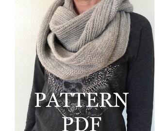 PATTERN PDF - Alsace Herringbone Cowl Pattern for DIY Cowl - Easy Knitting Pattern - Instant Download