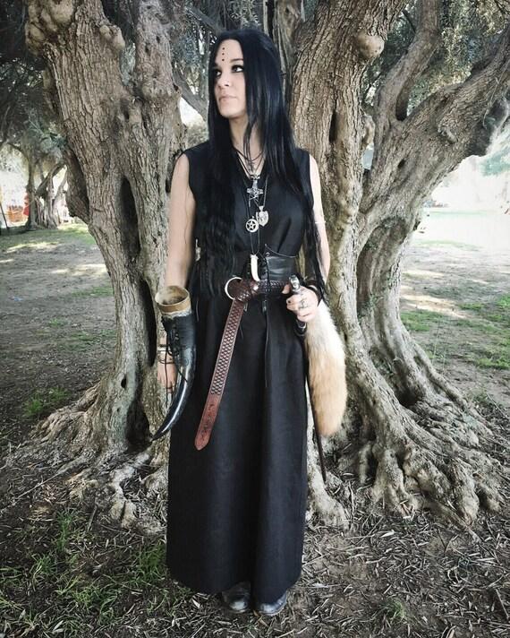 Linen Viking Sleeveless Dress, Garb, Serk, Norse, SCA, HEMA, LARP Comic Con Knotwork Trim Celtic Slavic Renaissance, Reenactment