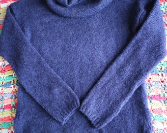 M & S deep blue cowl neck tunic sweater with a handknit look S