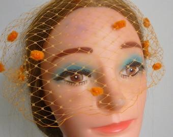 Orange Birdcage veil, dotted