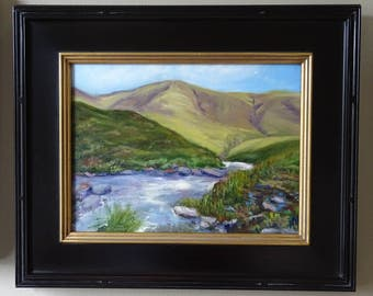 """Verdant River 2 Original Oil Painting Landscape - Highland mountains and river in golden yellow, green and lavender 20"""" x 23"""" framed"""