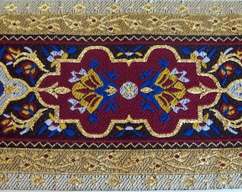 "DANTE Composite Jacquard trim in Royal Blue, Wine red, ivory, gold, grey on black. 2 3/4"" wide #972-B"