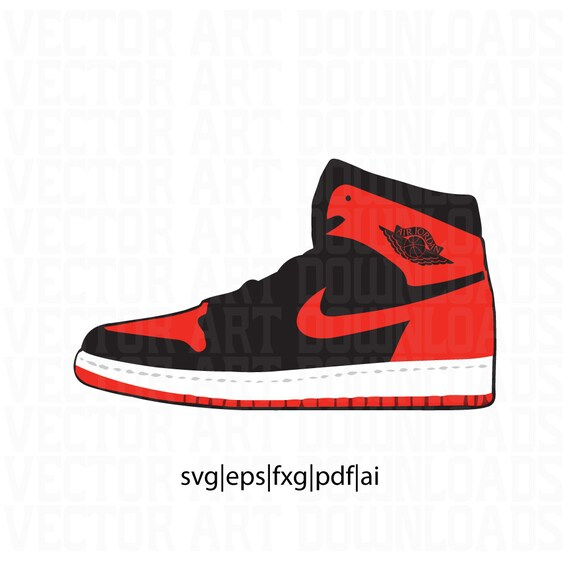 Air Jordan 1 High Og BRED Vector Art, svg, dxf, pdf, eps, fxg, ai Format  Download