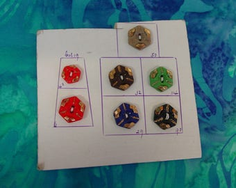 Antique Glass Buttons on Salesman Sample Card Octagon Shape, Each Different Color