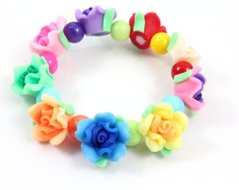 Little Girl Flower Stretch Bracelet, Multicolor Roses, Polymer Clay Flowers, Colorful Bracelet