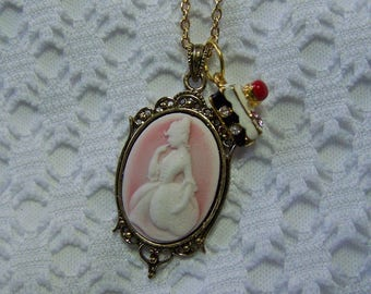 Marie Antoinette Golden Necklace, Pink & White Lady Cameo Necklace, Let Them Eat Cake Necklace, Cake Charm, French Lady, Southern Lady