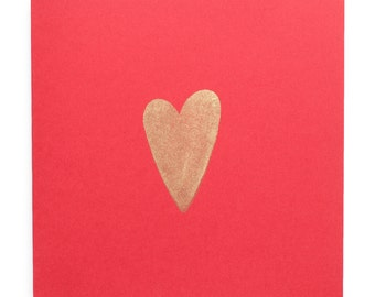 Single Gold Heart on red greeting card