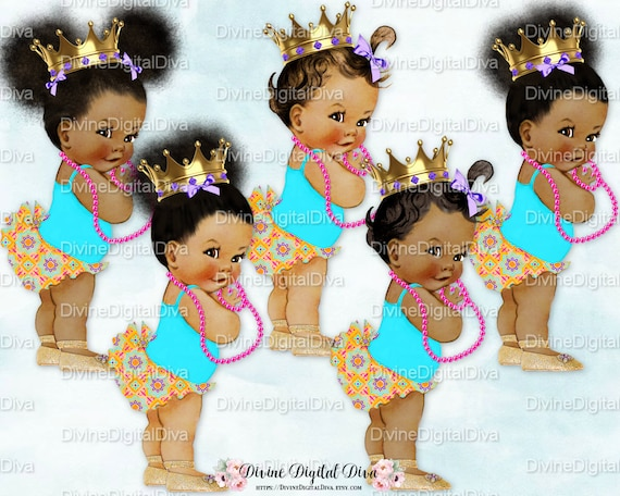 Moroccan Brights African American Princess Crown Turquoise