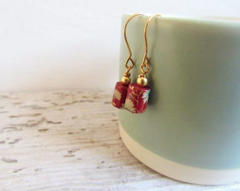 Red Bead with Flower Detail Earrings.
