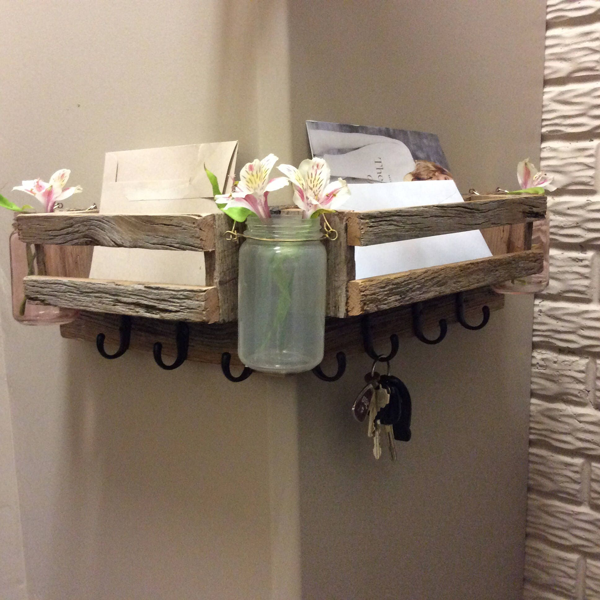 Double Entry Way Wall Mail Organizer with Three Jars mand Center