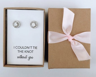 "Bridal Bridesmaids Gift- Silver ""Tie The Knot"" Stud Earrings"
