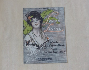 Sweet Luana Vintage sheet music dated 1920 Collectible sheet music Antique sheet music Cover art