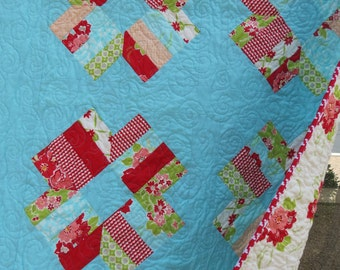 SALE Red Aqua Roses Girly Quilt with Miss Kate by Bonnie & Camille Moda Fabrics