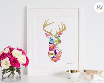 Deer Print, Deer Decor Printable Digital Art Stag Deer Antler Head Wall Art Decor Home Office Nursery Decor Wall Artwork Baby Shower Gift