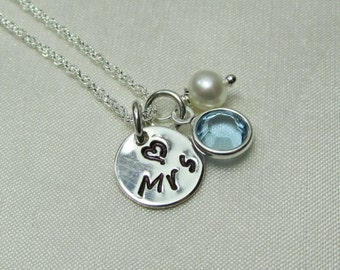 Mrs Necklace - Personalized Bridal Necklace - New Bride Gift - Monogram Necklace - Bridal Shower Gift - Personalized Wedding Jewelry