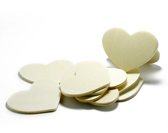 "100 Wood Heart Cut Outs, 2"" x 1.5"", Natural Wood Heart  for Crafting,  Staining, Painting, (#H200)"