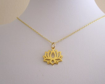 LOTUS FLOWER yellow gold plated sterling silver charm with necklace chain, yoga necklace