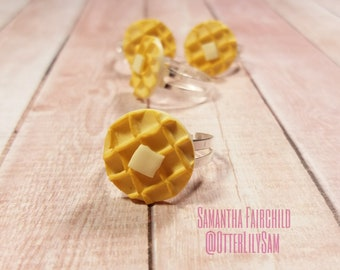 Polymer Clay Waffle Ring - OOAK - Buttered Waffle Adjustable Silver Silver Ring