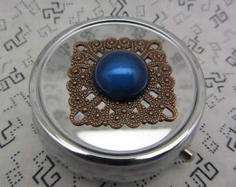 Pill Case Box Container Trinket Box Blue