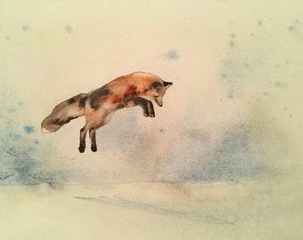 Original Watercolour - jumping Fox