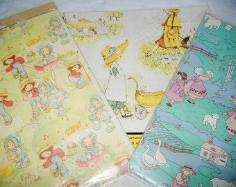 Vintage AMERICAN GREETINGS Childhood Gift Wrap Paper Lot • bonnet girl • Holly Hobbie • new in package