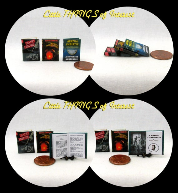 AGATHA CHRISTIE FAVORITES Set of 3 Miniature Books Dollhouse 1:12 Scale Readable Then There Were None Murder Orient Express Murder Announced