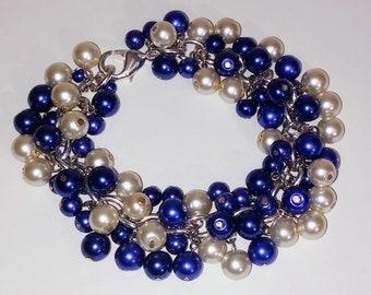 Royal Blue and Ivory Pearl Bracelet
