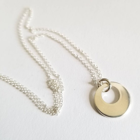 Sterling silver disc circle layering necklace, drop necklace, 13mm wide, made in canada, simple modern jewelry, minimalist jewelry