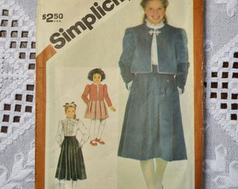 Vintage Simplicity 6225 Sewing Pattern Girls Blouse Skirt Jacket Size 7 Crafts  DIY Sewing Crafts PanchosPorch