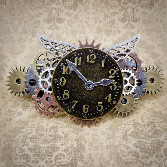 Steampunk Time Flies Barrette