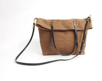 Fold 0ver Waxed CANVAS Cross Body Tote Bag - Tan MAREE Adjustable Leather Shoulder Straps Market Shopper Bag by Holm