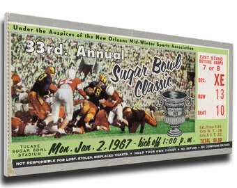 1967 Sugar Bowl Canvas Mega Ticket - Alabama Crimson Tide