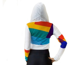 Rainbow Ninja Jersey Halter Hoodie - Sports, Fitness, Eco, Upcycled