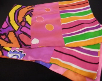 8 in x 55 in oblong collage silk scarf in pinks