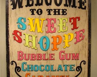 Sweet Shoppe Sign Candy Store Sign Custom Sign Custom Logo Store Sign Business Sign Trade Show Sign Wedding Decor Wedding Sign Bar Mitzvah