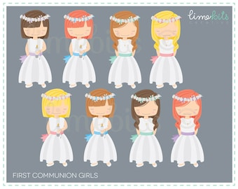 First Communion Girls Clip Art
