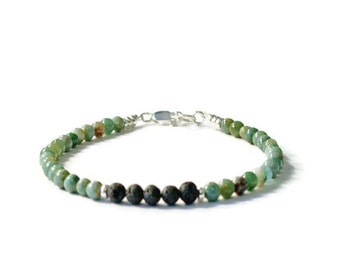 Lava Rock and African Jade Aromatherapy Essential Oil Diffuser Bracelet