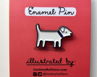 White Dog Enamel Pin / Dog Pin - Illustrated