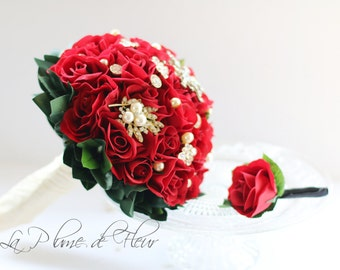 Red Rose Bouquet, Brooch Bouquet, Brooches & Blooms, Silk Flower Wedding Bouquet. Brooch Bouquet. Red roses. Pearl and diamonte jewells