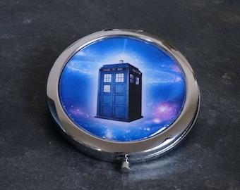 Compact Mirror Purse Mirror Pocket Mirror Handbag Mirror Flight of the Tardis Dr Who
